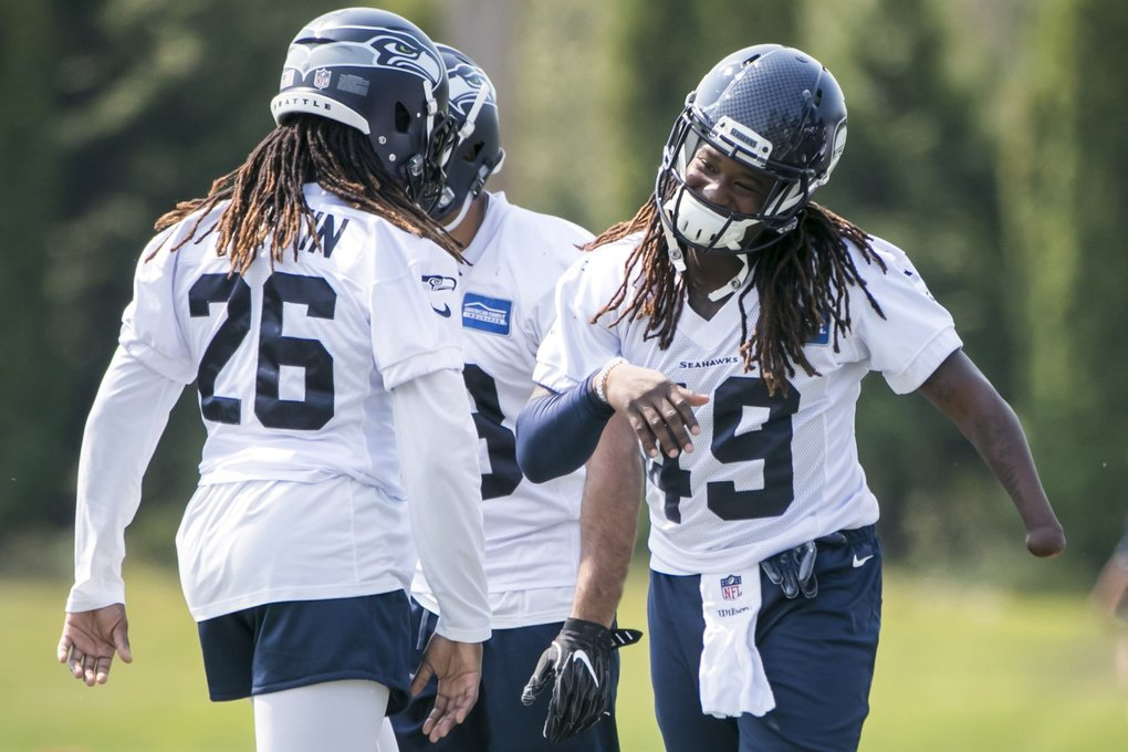 Twin brothers cornerback Shaquill Griffin and linebacker Shaquem Griffin work out at Seattle Seahawks Training Camp at the Virginia Mason Athletic Center in Renton Monday August 6, 2018.  (Bettina Hansen / The Seattle Times)
