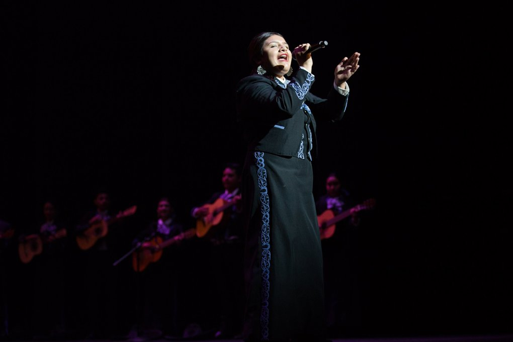 A member of Mariachi Huenachi sings Friday with the band at Mexico En El Corazón. (Rebekah Welch / The Seattle Times)