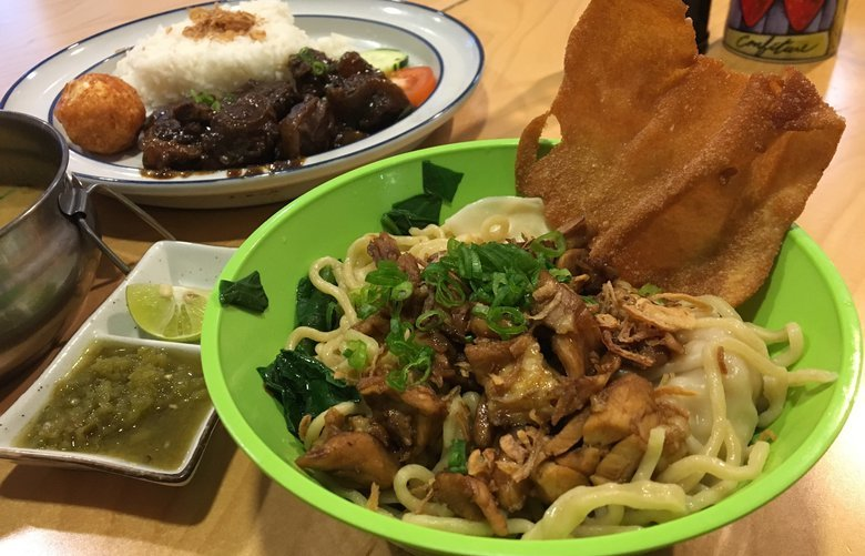 Mie ayam with wontons at Beetle Cafe, on the Ave.
