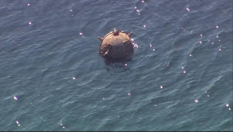 An unexploded ordnance was drifting Tuesday afternoon near the Port Brownsville Marina in Kitsap County. The Coast Guard had a 1,500-yard safety zone around it.   ((Tom Matsuzawa / KIRO 7) / )