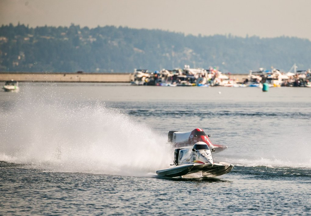 Hydroracing competitors race during the last day of the Seafair Festival in Genesee Park, August 5, 2018. (Rebekah Welch / The Seattle Times)