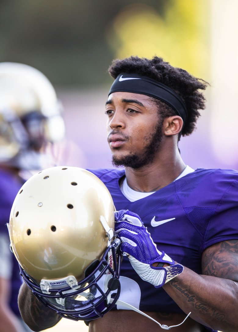 Wide receiver Chico McClatcher is back from injury, and hoping to create momentum for himself at camp. (Dean Rutz/The Seattle Times)