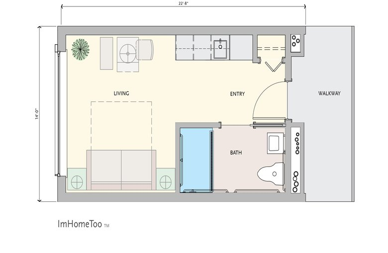 An artist's rendering of a single-unit modular-housing facility planned by King County. (King County)