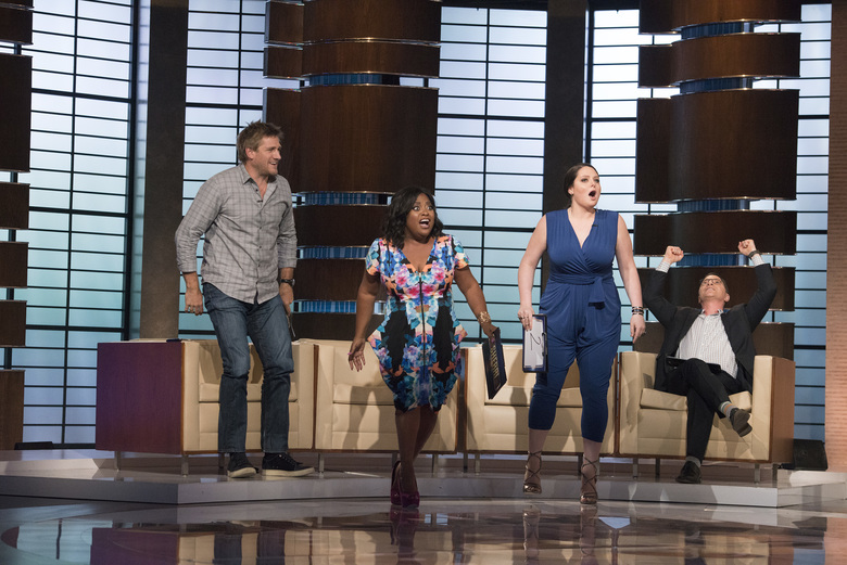 "Celebrity panelists on this Sunday's episode of ""To Tell the Truth"" include Curtis Stone, left, Sherri Shepherd, Lauren Ash and Joshua Malina. (Lisa Rose/ABC)"