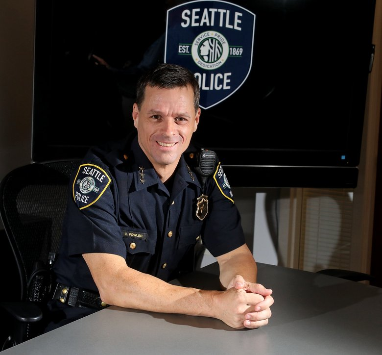 Seattle police Deputy Chief Chris Fowler will join the Washington State Criminal Justice Training Commission as deputy director.  (Greg Gilbert/The Seattle Times)