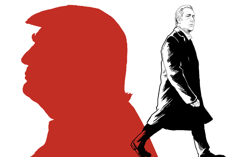 This artwork by Paul Tong refers to Michael Cohen stepping out of Donald Trump's shadow in his recent plea bargain.