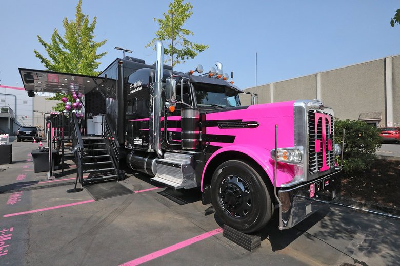 The first stop for T-Mobile's decked out semitruck is Philadelphia. The truck, an extension of the company's Tech Experience lab, showcases T-Mobile's ideas for the next generation of wireless connectivity, 5G, and how it envisions people and businesses making use of it. (Greg Gilbert/The Seattle Times)