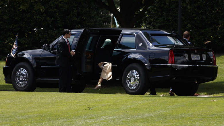 First lady Melania Trump enters the presidential limousine at the White House on June 6, 2018. On many matters, the first lady has directed her East Wing staff to operate independently of the West Wing, and she is still keeping Washington at a distance. (Tom Brenner/The New York Times)