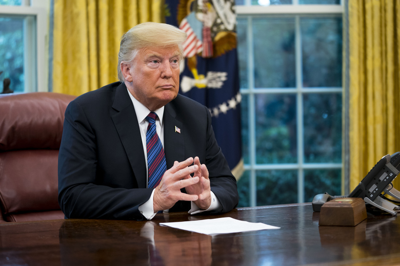 President Donald Trump while speaking on the phone with Mexican President Enrique Peña Nieto after the announcement that the U.S. and Mexico have reached agreement to revise the North American Free Trade Agreement, in the Oval Office of the White House, in Washington, Aug. 27, 2018. The preliminary agreement is a major step for Trump, who has threatened to scrap the pact altogether. (Doug Mills/The New York Times)
