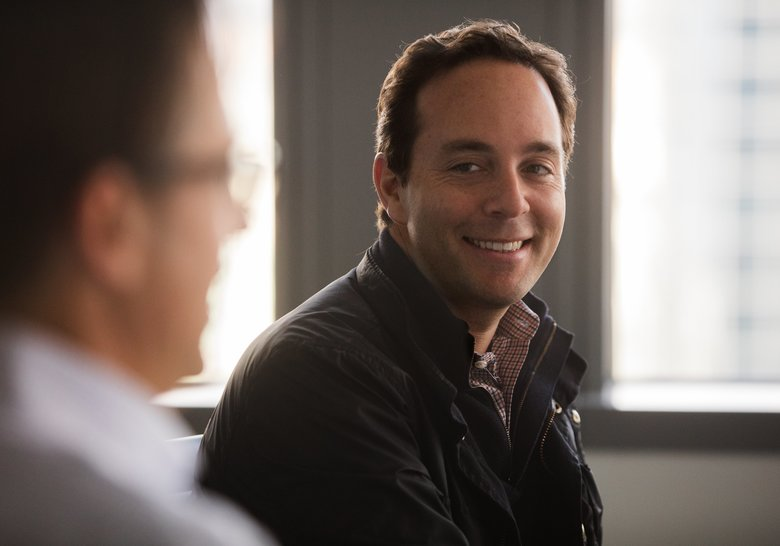 Zillow CEO Spencer Rascoff listening to Zillow founder Rich Barton during a 2016 interview at Zillow headquarters in Seattle.  (Steve Ringman/The Seattle Times)