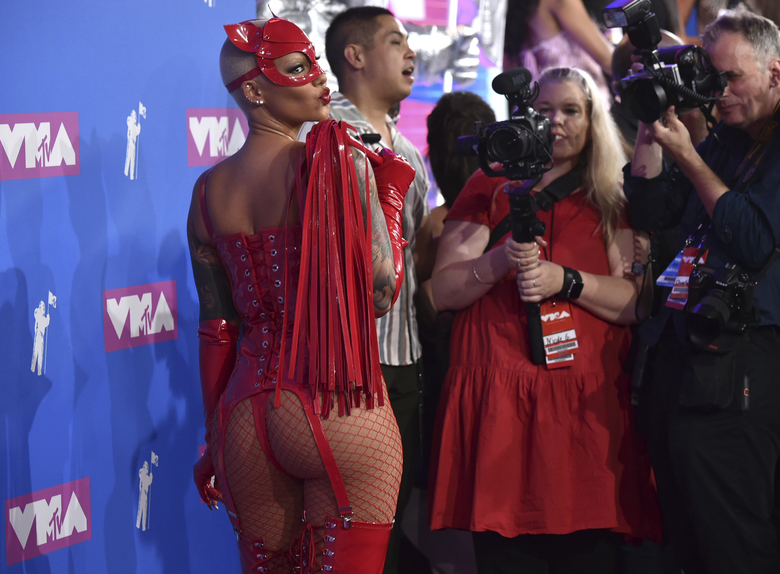 Amber Rose arrives at the MTV Video Music Awards at Radio City Music Hall on Monday, Aug. 20, 2018, in New York. (Photo by Evan Agostini/Invision/AP)