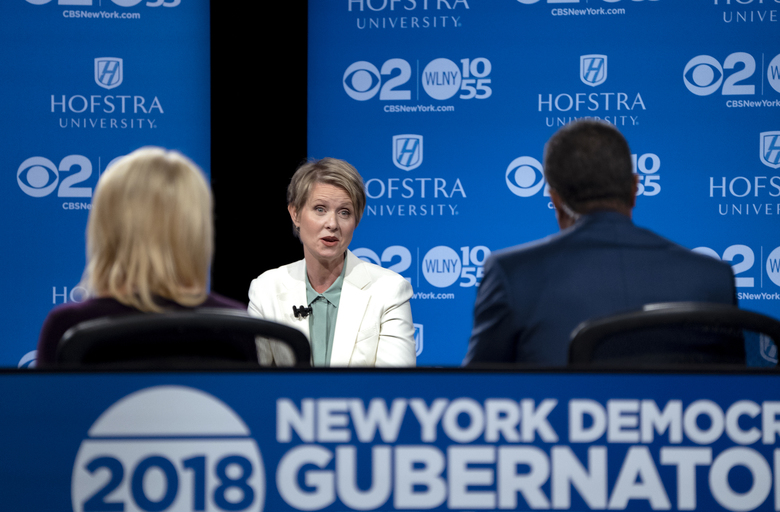 Democratic New York gubernatorial candidate Cynthia Nixon answers a question during a gubernatorial debate with New York Gov. Andrew Cuomo at Hofstra University in Hempstead, N.Y., Wednesday, Aug. 29, 2018. (AP Photo/Craig Ruttle, Pool)
