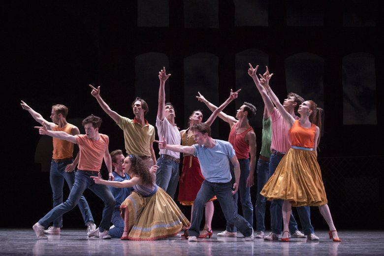 "Pacific Northwest Ballet company dancers in Jerome Robbins' ""West Side Story Suite,"" which PNB will present as part of a two-part Jerome Robbins Festival, from Sept. 21-29. (Angela Sterling)"