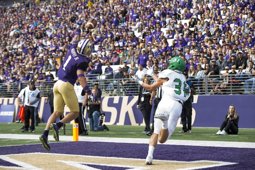 Huskies defensive back Byron Murphy breaks up an attempted touchdown pass for Fighting Hawks wide receiver Noah Wanzek as the University of Washington Huskies take on the North Dakota Fighting Hawks for their home opener at Husky Stadium in Seattle Saturday September 8, 2018. (Bettina Hansen / The Seattle Times)