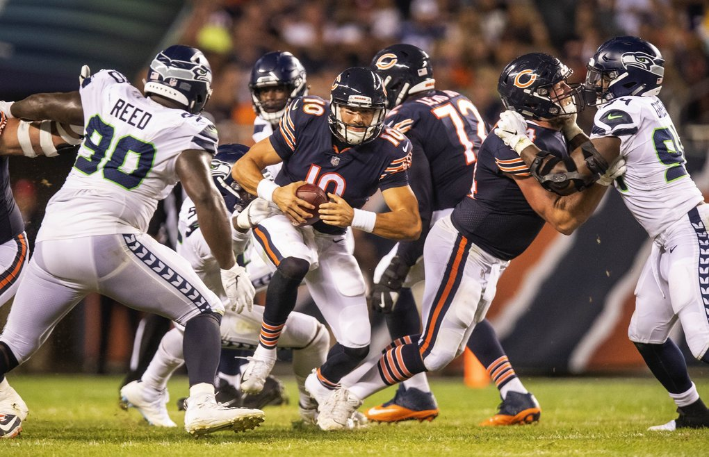 The Seahawks get a 4-yard sack of Mitchell Trubisky in the 3rd quarter. (Dean Rutz / The Seattle Times)