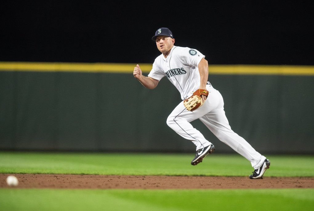 The Mariners put on the shift for Rougned Odor in the 3rd inning, and it works against them as Odor hits an opposite field base hit. Kyle Seager is unable to make a play on the ball. (Dean Rutz / The Seattle Times)