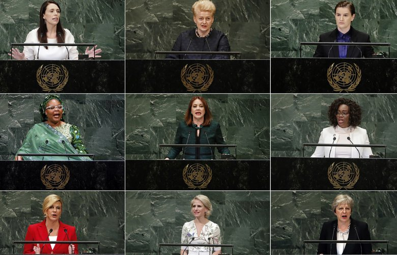 This photo combo shows, from top left, New Zealand's Prime Minister Jacinda Ardern, Lithuania's President Dalia Grybauskaite, and Serbia's Prime Minister Ana Brnabic. Middle row, from left, Nobel Peace Prize winner Leymah Gbowee, from Liberia, U.N. General Assembly President María Fernanda Espinosa Garces, and Costa Rican Vice President Epsy Campbell Barr.  Bottom row, from left, Croatia's President Kolinda Grabar-Kitarovic, Liechtenstein's Foreign Minister Aurelia Frick, and British Prime Minister Theresa May. At the U.N. General Assembly, the first since #metoo took root, some of the most powerful words came from the mouths of female leaders, a group whose numbers, influence and ambitions for the planet are on the rise. (AP Photo/File) NYDK701 NYDK701