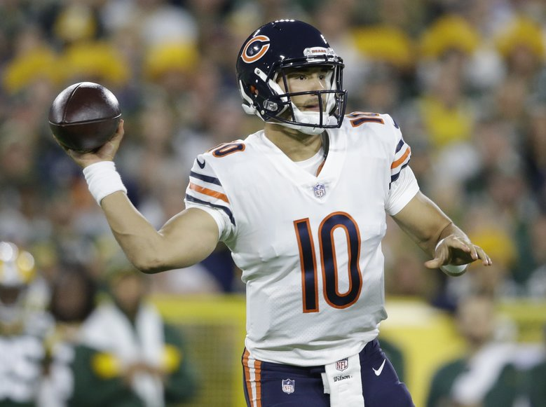 Chicago Bears' Mitchell Trubisky throws during the first half of an NFL football game against the Green Bay Packers Sunday, Sept. 9, 2018, in Green Bay, Wis. (AP Photo/Jeffrey Phelps) WIMG1 WIMG1 (Jeffrey Phelps / The Associated Press)
