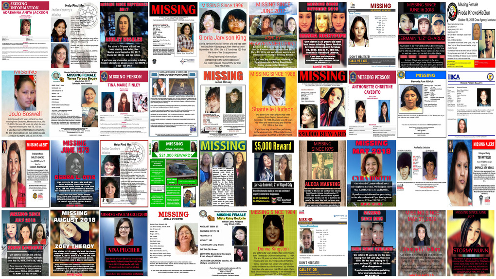 This combination of images from various law-enforcement agencies and organizations shows posters of missing and murdered Native American women and girls as of September 2018. No one knows precisely how many there are because authorities don't have reliable statistics.  (AP)