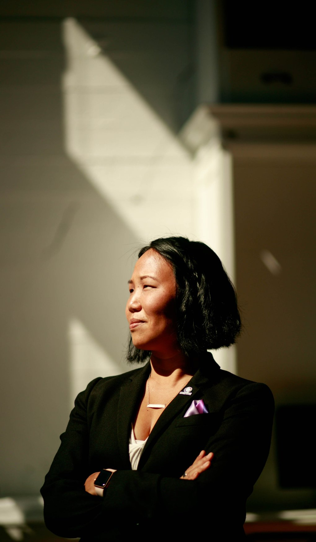 Laura Clise, founder and CEO of Intentionalist, is photographed at The Riveter on Capitol Hill. Her company is an online guide for consumers to make spending choices to build community and support businesses owned by people of color, women, immigrants, members of the LGBTQ community and veterans. (Erika Schultz/The Seattle Times)