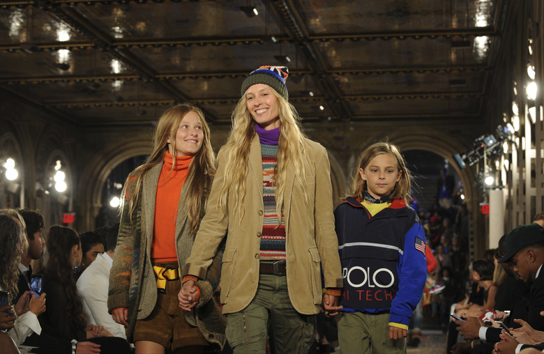 Models walk the runway at the Ralph Lauren 50th Anniversary Fashion Show during New York Fashion Week, Friday, Sept. 7, 2018. (AP Photo/Diane Bondareff)