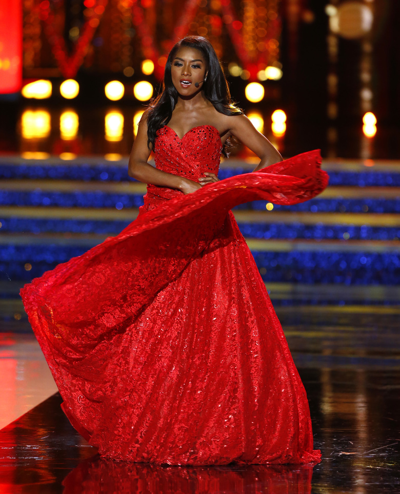 Miss New York Nia Franklin competes during the talent competition at the Miss America 2019 pageant, Sunday, Sept. 9, 2018, in Atlantic City, N.J. (AP Photo/Noah K. Murray)