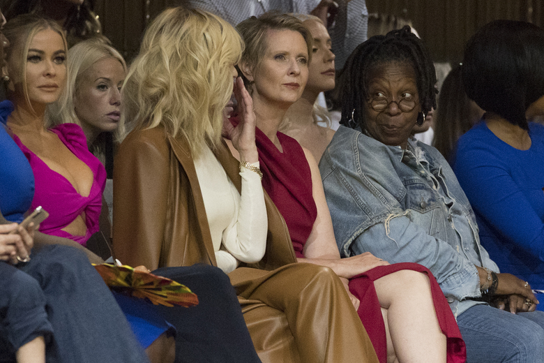 From left, Carmen Electra, Judith Light, Democratic New York gubernatorial candidate Cynthia Nixon and Whoopi Goldberg, are seen in the front row of the Christian Siriano spring 2019 collection during Fashion Week in New York, Saturday, Sept. 8, 2018. (AP Photo/Mary Altaffer)