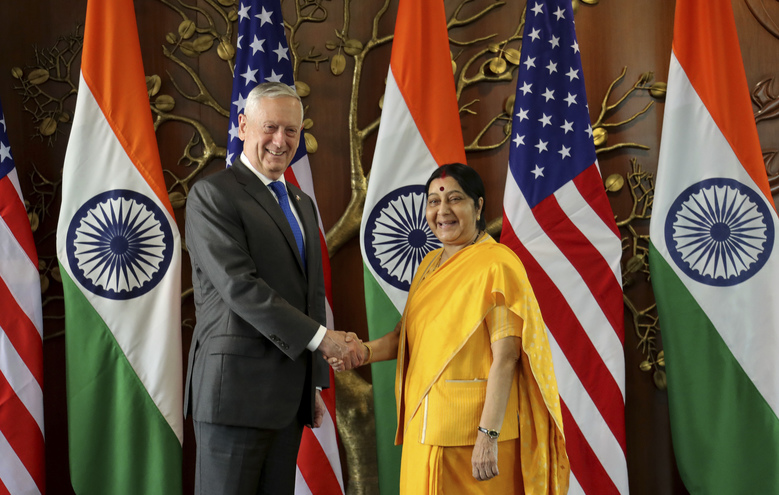U.S. Defense Secretary James Mattis shakes hand with Indian Foreign Minister Sushma Swaraj before a meeting in New Delhi, India, Thursday, Sept. 6, 2018. Mattis and U.S. Secretary of State Mike Pompeo are holding long-delayed talks Thursday with top Indian officials, looking to shore up the alliance with one of Washington's top regional allies. (AP Photo/Manish Swarup)