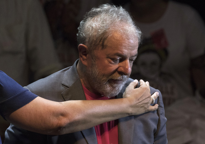 FILE – In this April 2, 2018 file photo, Luiz Inacio Lula da Silva, Brazil's former president and the Workers' Party presidential candidate, attends a campaign rally in Rio de Janeiro, Brazil. The Workers' Party bowed to court orders Tuesday, Sept. 11, 2018, to replace da Silva as its candidate for the Oct. 7 presidential vote. (AP Photo/Leo Correa, File)