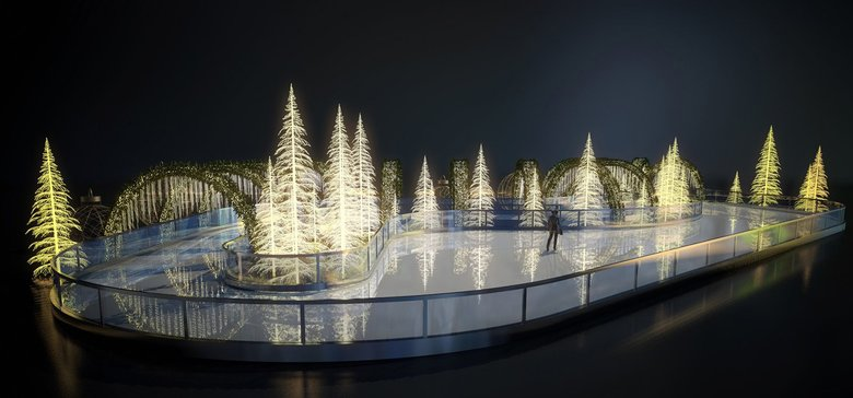 A rendering of the planned ice-skating trail at Enchant Christmas, which will take over Safeco Field from Nov. 23 to Dec. 30. (Courtesy of Enchant Christmas)