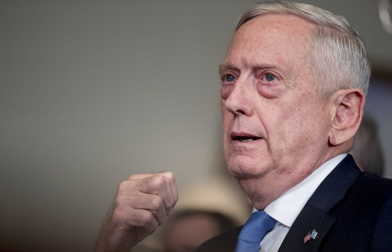 Defense Secretary Jim Mattis, left, speaks to reporters during a meeting with Greek Defense Minister Panagiotis Kammenos at the Pentagon, Tuesday, Oct. 9, 2018, in Washington. (AP Photo/Andrew Harnik) DCAH125 DCAH125