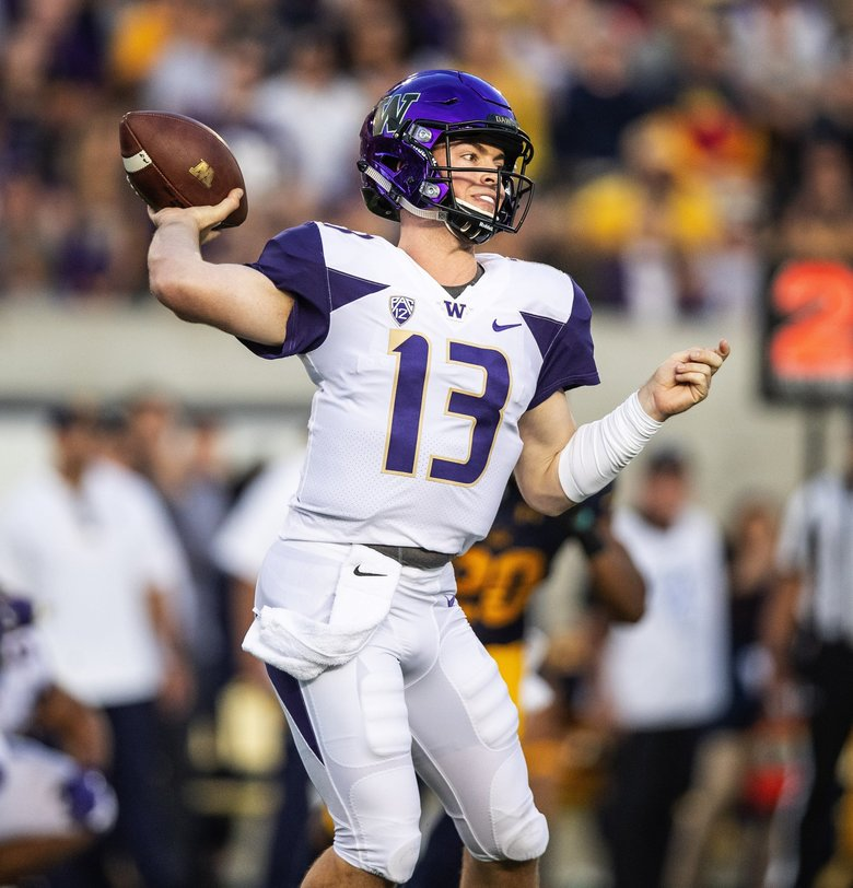Jake Haener came in for Jake Browning, and threw the Pick-6 that would give Cal the upset win. (Dean Rutz / The Seattle Times)