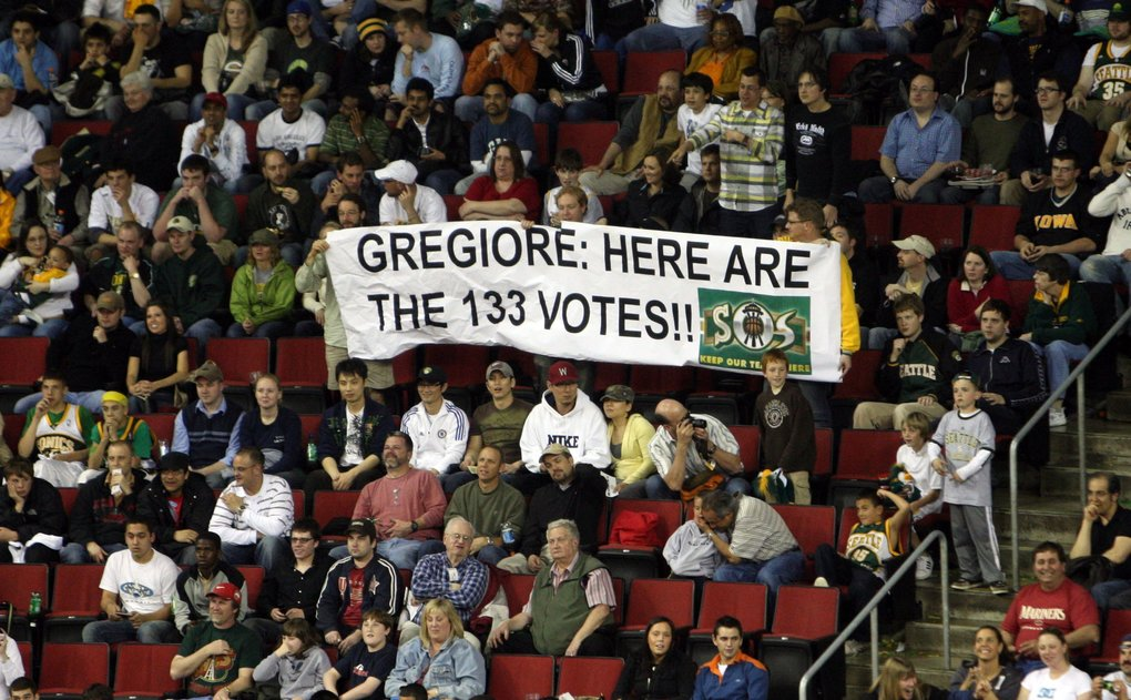 Signs…that Sonics fans care. At least 133 of them.  (Rod Mar / The Seattle Times)