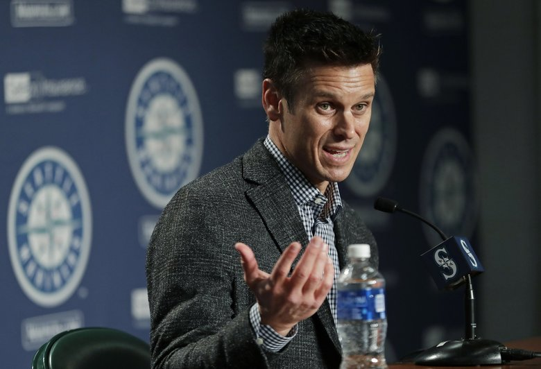 In this Jan. 25, 2018, file photo, Seattle Mariners general manager Jerry Dipoto speaks during the Mariners' annual media briefing before the start of spring training. (Ted S. Warren / AP)