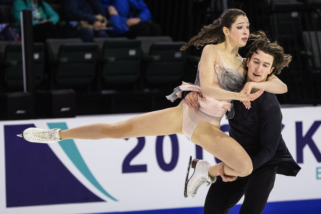 Americans Lorraine McNamara and Quinn Carpenter finished 4th in the Ice Dance competition at Skate America in Everett. (Dean Rutz / The Seattle Times)