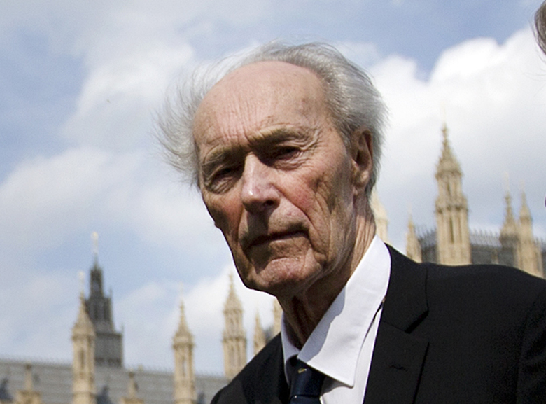 Norwegian war hero and resistance fighter Joachim Roenneberg walks in a park near the Palace of Westminster, in 2013, after receiving the Union Jack Medal for his efforts and cooperation with the British during the second World War. In 1943, Roenneberg headed the four-man team that blew up a plant producing heavy water, which Nazi Germany could have used to produce nuclear weapons. Roenneberg died in Alesund, Norway, last Sunday, Oct. 21. He was 99.