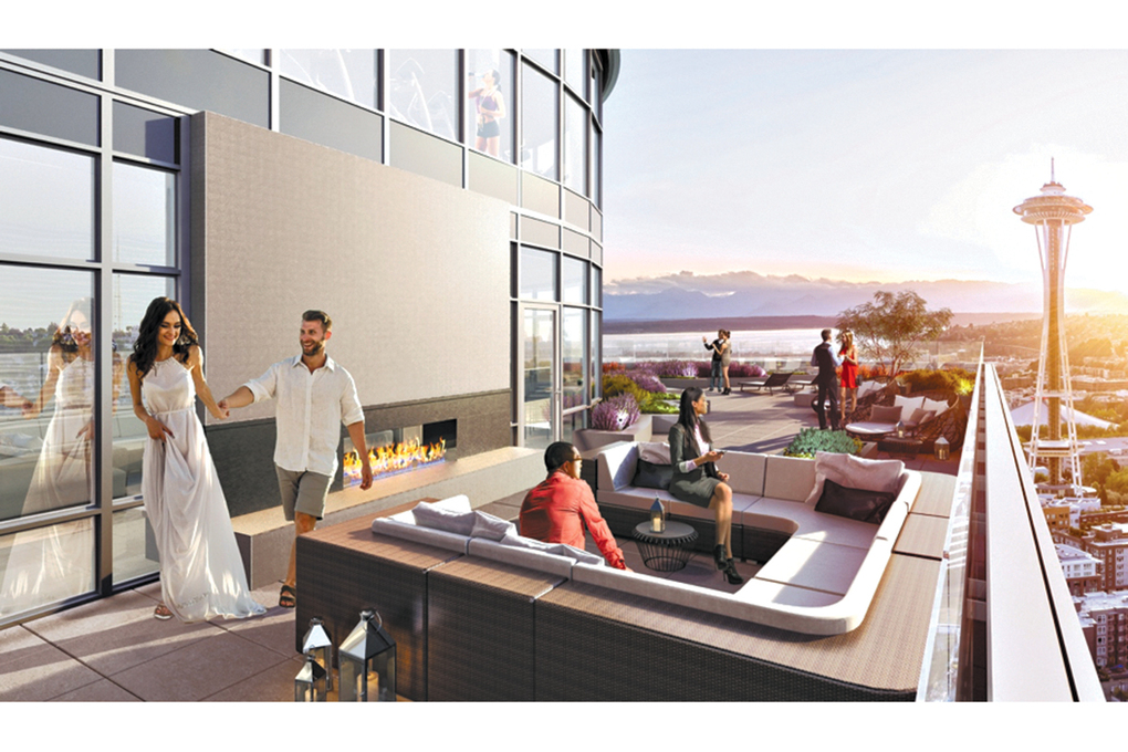 The SPIRE Club is a two-level amenity facility that features exterior terraces with entertaining spaces, fire pits and views of the nearby Space Needle.