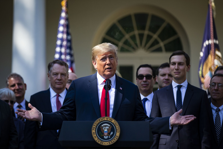President Donald Trump speaks about the revised North American Free Trade Agreement at the White House on Monday, Oct. 1, 2018. Trump hailed the agreement as a victory for the United States, Canada and Mexico, saying his get-tough approach to trade, including his use of tariffs, was bringing results. (Al Drago/The New York Times)