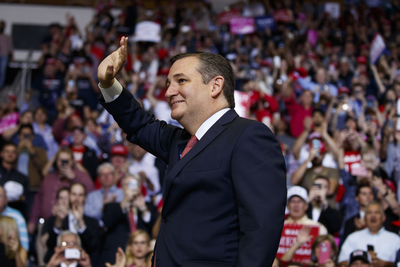 Sen. Ted Cruz, R-Texas, arrives for a campaign rally with President Donald Trump at Houston Toyota Center, Monday, Oct. 22, 2018, in Houston. (AP Photo/Evan Vucci)