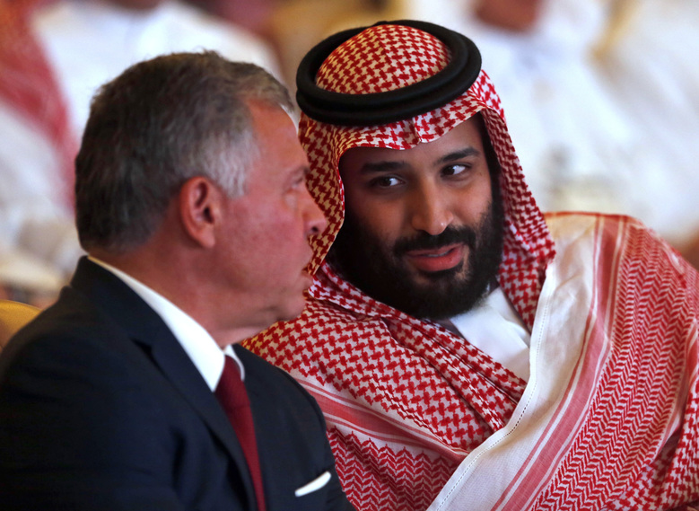 Jordan's King Abdullah II, left, listens to Saudi Crown Prince Mohammed bin Salman, at the Future Investment Initiative conference, in Riyadh, Saudi Arabia, Tuesday, Oct. 23, 2018. The high-profile economic forum in Saudi Arabia is the kingdom's first major event on the world stage since the killing of writer Jamal Khashoggi at the Saudi Consulate in Istanbul earlier this month. (AP Photo/Amr Nabil)