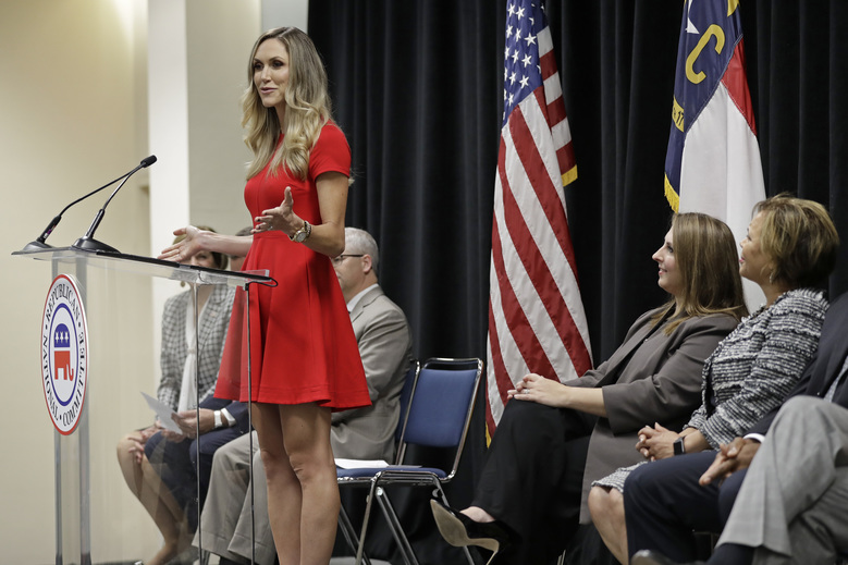 Lara Trump speaks during a news conference for the 2020 Republican National Convention in Charlotte, N.C., Monday, Oct. 1, 2018. The committee announced Aug. 24-27, 2020 as the dates for the convention. (AP Photo/Chuck Burton)