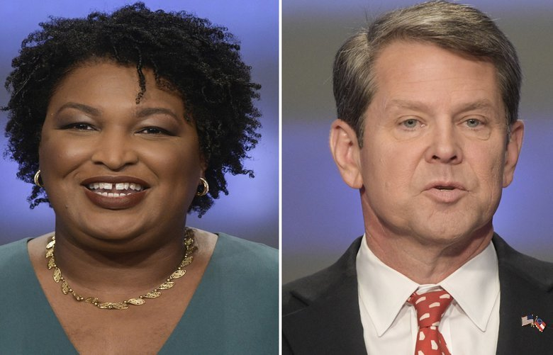 This combination of May 20, 2018, photos shows Georgia gubernatorial candidates Stacey Abrams, left, and Brian Kemp in Atlanta. Georgia's still undecided race for governor will remain in legal limbo for several more days after a federal court put the brakes on final certification of the vote totals in one of the nation's hottest midterm matchups. (AP Photos/John Amis, File) NYAG207 NYAG207