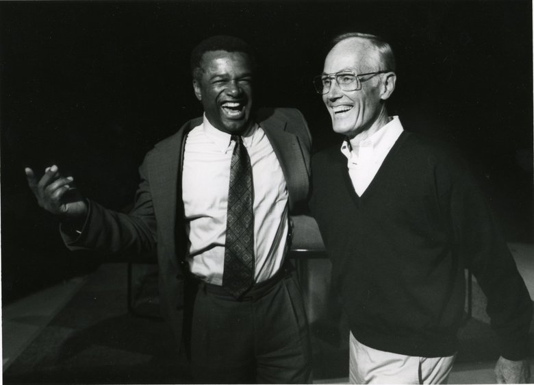 Democratic challenger Ron Sims, left, and Republican Sen. Slade Gorton share a laugh before the start of their debate in the Senate race on Sept. 26, 1994. (Mark Harrison / The Seattle Times)