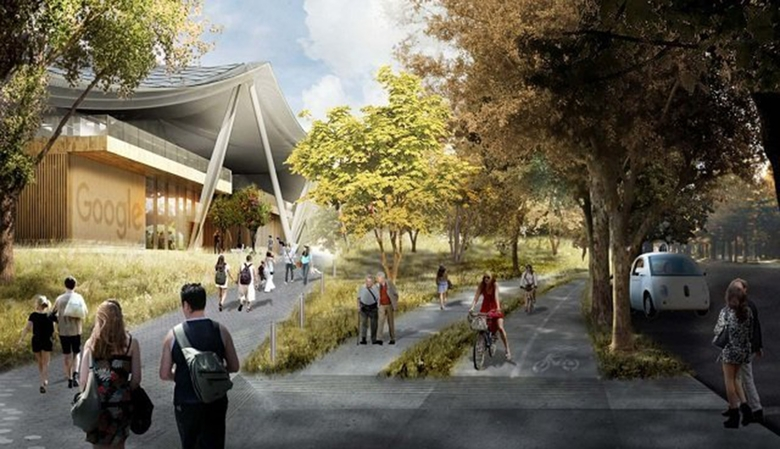 An artist's rendering of Google's planned Charleston East campus in Mountain View, California. (City of Mountain View / TNS)