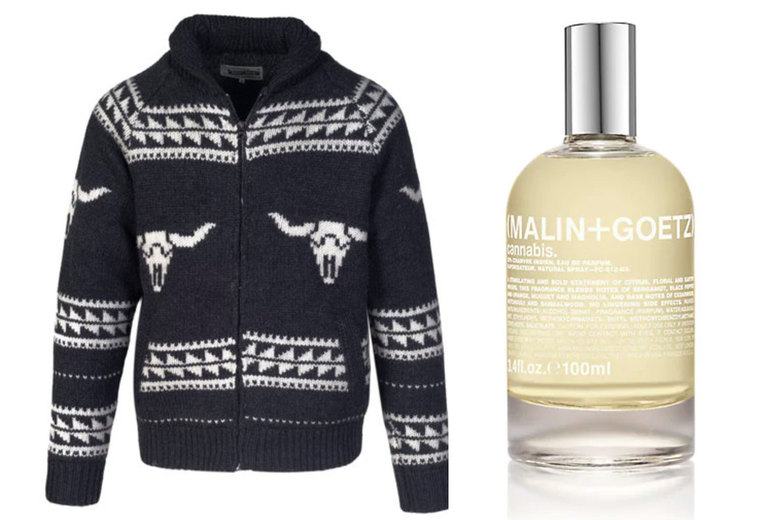 From left: Schott NYC Fleece Lined Longhorn Sweater Jacket, $160; Malin + Goetz Cannabis Eau de Parfum, $165