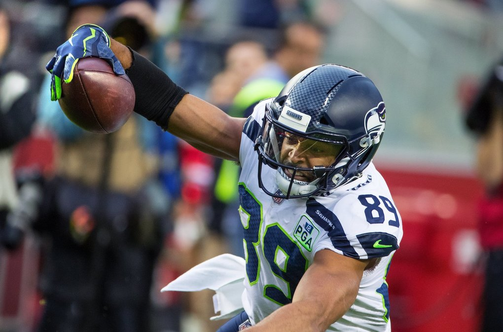 Seattle Seahawks wide receiver Doug Baldwin (89) dives ball first to score a second quarter touch down as the Seattle Seahawks play the San Francisco 49ers at Levi's Stadium in Santa Clara, CA on December 16, 2018. (Mike Siegel / The Seattle Times)