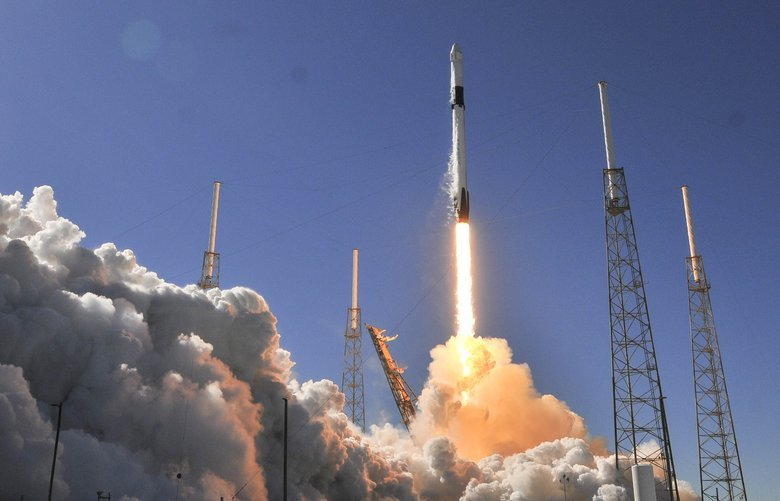 A SpaceX Falcon 9 rocket lifts off from Complex 40 at Cape Canaveral Air Force Station in Cape Canaveral, Fla., Wednesday, Dec. 5, 2018. Christmas turkey rocketed toward the International Space Station on Wednesday, along with cranberry sauce, candied yams and the obligatory fruitcake. (Craig Bailey/Florida Today via AP) FLROC301 FLROC301
