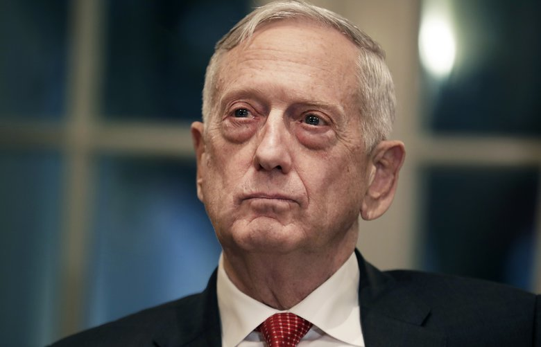 FILE — Defense Secretary Jim Mattis listens as President Donald Trump met with senior military leaders at the White House in Washington, Oct. 23, 2018. Mattis was reportedly livid over the fact that junior officers were being reprimanded over the 2017 ambush in Niger that killed four soldiers, while the officers directly above them were not. (Sarah Silbiger/The New York Times) XNYT79 XNYT79