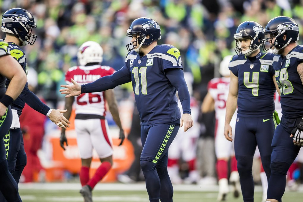 Seahawks kicker Sebastian Janikowski made all five attempts in the game, two field goals and three PAT kicks as the Seattle Seahawks take on the Arizona Cardinals for the final game of the regular season at CenturyLink Field in Seattle, Sunday December 30, 2018.  (Bettina Hansen / The Seattle Times)