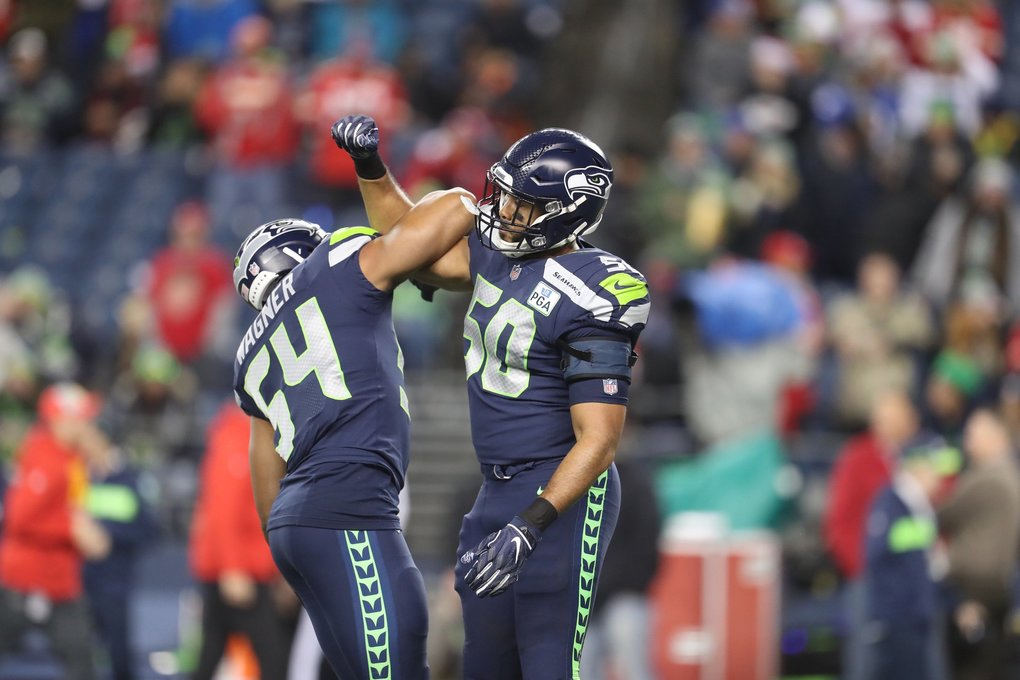 Linebackers Bobby Wagner and K.J. Wright will be reunited on the field after Wright's absence with a knee injury, as the Seattle Seahawks take on the Kansas City Chiefs at CenturyLink Field in Seattle Sunday December 23, 2018.  (Bettina Hansen / The Seattle Times)
